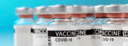COVID-19 vaccine bottles in a row